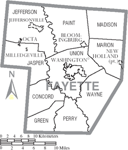 Map of Fayette County Ohio With Municipal and Township Labels