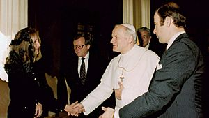 Pope John Paul II with Joe and Jill Biden