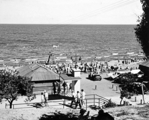 Queensland State Archives 2175 The Pavilion and bathers Redcliffe December 1937