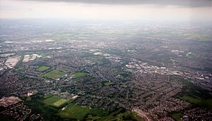 Ashton under lyne aerial shot