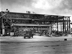 Damaged hangar on Ford Island in December 1941