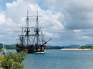 Endeavour replica in Cooktown harbour