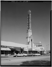 Marvin Rand, Photographer 1972-77 FRONT ELEVATION, TAKEN FROM SOUTHWEST - Leimert Park Theater, 3341 West Forty-Third Place, Los Angeles, Los Angeles County, CA HABS CAL,19-LOSAN,38-1