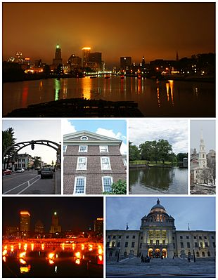 Top: Downtown Providence skyline and the Providence River from the Point Street Bridge; Middle: Federal Hill, University Hall at Brown University, Roger Williams Park, and the First Baptist Church in America; Bottom: WaterFire at Waterplace Park, and the Rhode Island State House.