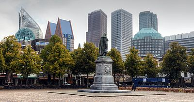 Cityscape of The Hague, viewed from Het Plein (The Square)