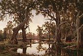 H J. Johnstone - Evening shadows, backwater of the Murray, South Australia - Google Art Project