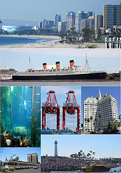 Images from top, left to right: Long Beach skyline from Bluff Park, RMS Queen Mary, Aquarium of the Pacific Blue Cavern exhibit, TTI Terminal at Port of Long Beach, Villa Riviera, Metro Blue Line, Long Beach Lighthouse