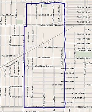 Map of Chesterfield Square neighborhood of Los Angeles California