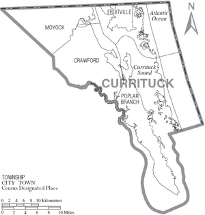 Map of Currituck County North Carolina With Municipal and Township Labels