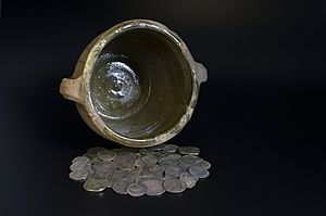 A selection of the hoard's coins now in the Yorkshire Museum