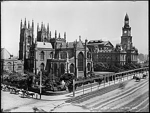 St Andrew's Cathedral and Town Hall, Sydney from The Powerhouse Museum Collection