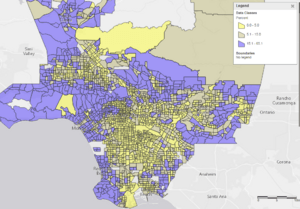 Distribution of high income households across LA County