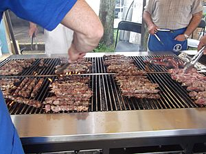 Greek American souvlaki grilling at 2011 Greek Festival, Piscataway, New Jersey