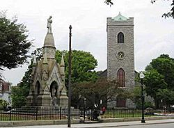 Soldier's Monument and First Church in Jamaica Plain Unitarian Universalist