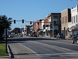 Route 11 passing through downtown Lenoir City, Tennessee.