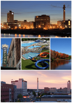 From top left: Moncton skyline at night, the Capitol Theatre, Magic Mountain, Centennial Park, and Downtown Moncton at dusk