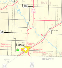 KDOT map of Seward County (legend)