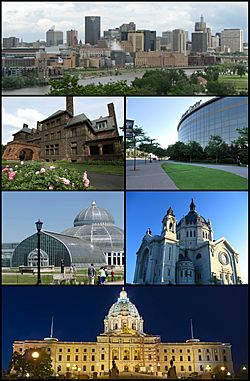 Clockwise from the top: Downtown Saint Paul as seen from Harriet Island, the Xcel Energy Center, the Saint Paul Cathedral, the Minnesota State Capitol, the Marjorie McNeely Conservatory, and the historic James J. Hill House