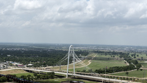 View of the Margaret Hunt Hill Bridge, a Santiago Calatrava-designed bridge over the Trinity River in Dallas, Texas LCCN2014632135
