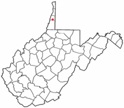 Location of Triadelphia, West Virginia