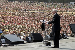 Defense.gov News Photo 100728-D-7203C-014 - Secretary of Defense Robert M. Gates addresses an audience of more than 45000 during the Boy Scouts of America 2010 National Scout Jamboree at