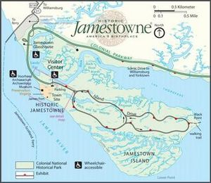 Map of Jamestown Island in 2016