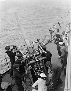 3-inch AA gun and crew on HMS Royal Oak WWI IWM Q 18493