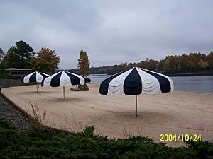 Black and white beach umbrellas.JPG
