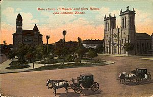 Main Plaza, Cathedral, and Court House, San Antonio, Texas