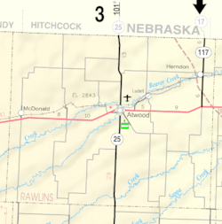Map of Rawlins Co, Ks, USA