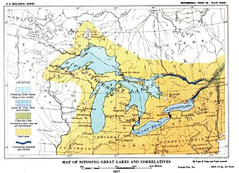 Plate 27 - Glacial Lake Nipissing and its Correlatives (USGS 1915) or 1917 Nipissing Great Lakes & correletives.JPG