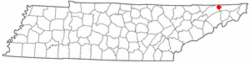 Location of Mount Carmel, Tennessee