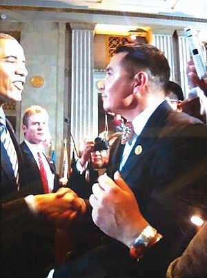Timothy williams tribal chairman for the fort mojave indian tribe shaking hands with president barack obama