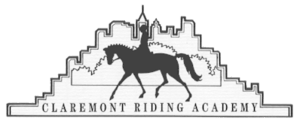 The Claremont Riding Academy logo, a black-and-white drawing showing the silhouette of a horse and rider, stylized bushes behind them, and a stylized city skyline behind the bushes. At bottom, square letters spell out Claremont Riding Academy.