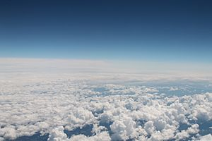 Cumulus clouds as seen from an airplane