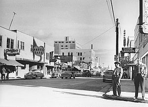Downtown street in Fairbanks 1955 Meyer
