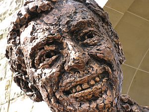 Fred Rogers statue Pittsburgh Close up face