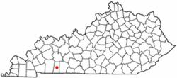 Location of Elkton within Kentucky.
