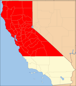 Northern California counties in red