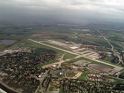 Aerial view of Offutt Air Force Base with Bellevue in foreground