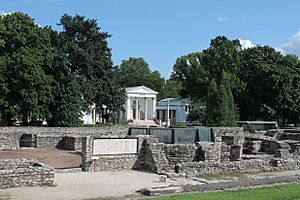 The ruins of the civil town of Aquincum and the Museum in Budapest