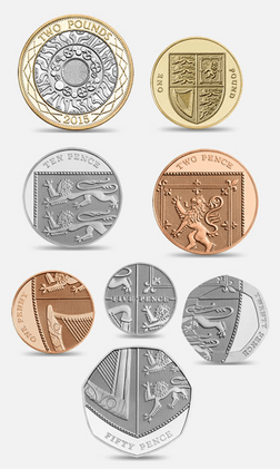 All frequently used coins. The coins shown are those after the extensive 2008 redesign.