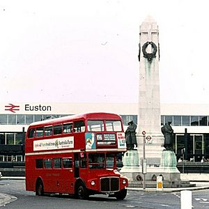 Bus and London and North Western Railway War Memorial at Euston station (Geograph-6678664-by-Alan-Murray-Rust) (cropped)