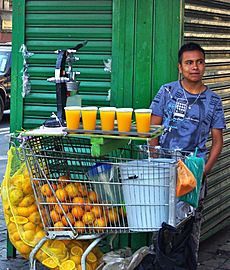 Mexico City merchant with his freshly squeezed orange juice March 2010