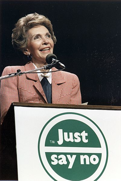 Photograph of Mrs. Reagan speaking at a  Just Say No  Rally in Los Angeles - NARA - 198584