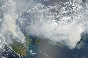 Satellite image of 2015 Southeast Asian haze - 20150924