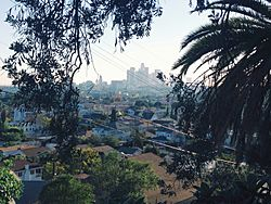 View of Lincoln Heights and Downtown Los Angeles from the hills