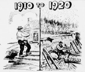 Cartoon of the Spavinaw Water Project the Tulsa World newspaper 1919