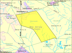 Census Bureau map of Tabernacle Township, New Jersey
