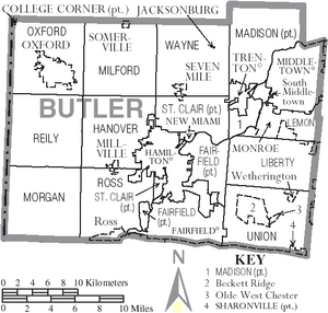 Map of Butler County Ohio With Municipal and Township Labels